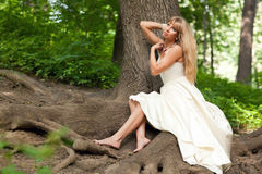 Beautiful bride near the tree Stock Photography