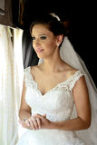 Beautiful bride in a old train Stock Photography
