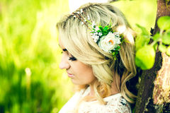 Beautiful bride outdoor in the park, portrait Royalty Free Stock Photo