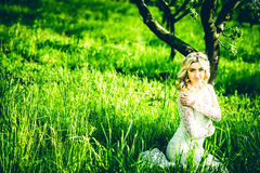 Beautiful bride outdoor in the park, portrait Royalty Free Stock Image
