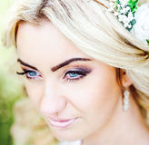 Beautiful bride outdoor in the park, portrait Royalty Free Stock Images