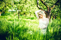 Beautiful bride outdoor in the park, portrait Stock Photography