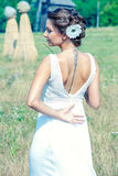Beautiful bride outdoor. Beautiful bride  wearing a white wedding dress outdoor Stock Photos