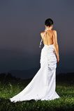 Beautiful bride outdoor after wedding ceremony Stock Photography