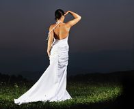 Beautiful bride outdoor after wedding ceremony Stock Images