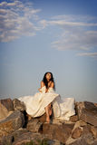 Beautiful bride outdoors Royalty Free Stock Image