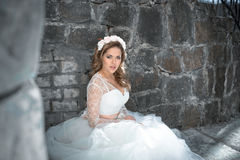 Beautiful bride outdoors. Castle. Wedding day. Royalty Free Stock Photo