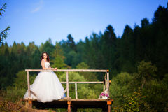 Beautiful bride outdoors in a forest. Stock Image