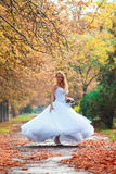 Beautiful bride outdoors in a forest. Beautiful bride outdoors in a alley Stock Photos
