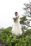 Beautiful bride outdoors in a forest. Royalty Free Stock Photography