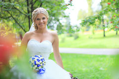 Beautiful bride outdoors. Wedding Day royalty free stock photography