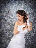 A beautiful bride over the vintage background Royalty Free Stock Images