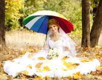 Beautiful bride in the park Stock Image