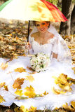 Beautiful bride in the park Royalty Free Stock Image
