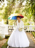 Beautiful bride in the park. Royalty Free Stock Photo