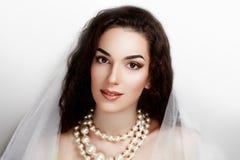 Beautiful bride. Perfect Bride. Dreams. Desire. Beautiful beauty pretty. smiling, happy professional photo portrait photo model face, pink lips, bright eyes Stock Image