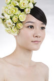 Beautiful bride with perfect natural makeup stock photo