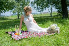 Beautiful bride on picnic in park Stock Image