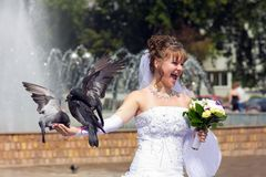 Beautiful bride with a pigeons Royalty Free Stock Image