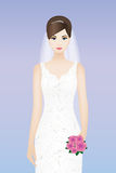 Beautiful bride with pink bouquet Royalty Free Stock Images