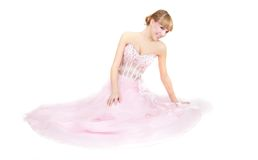 Beautiful bride in pink dress Stock Photography