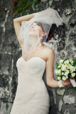 Beautiful bride playing with veil. Stock Images