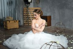 Beautiful bride portrait with bright make-up Stock Photography