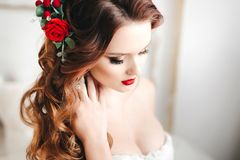 Beautiful bride portrait with bright make-up Stock Images