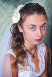 Beautiful Bride. Portrait of beautiful girl bride dress Stock Photo