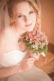 Beautiful bride portrait. In a hotel Stock Photography