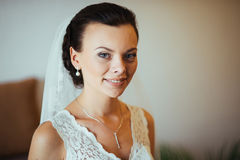 Beautiful Bride portrait in interior. Wedding photo-session Stock Images