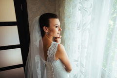 Beautiful Bride portrait in interior. Wedding photo-session Stock Image