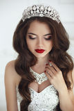 Beautiful Bride portrait. Makeup. Wavy hair. Healthy long hairst Stock Photography