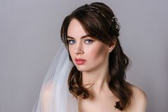 Beautiful bride portrait wedding hairstyle and make up stock photo