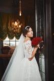 Beautiful Bride Portrait wedding makeup, hairstyle Stock Image