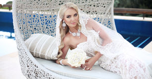 Beautiful Bride Portrait wedding makeup and hairstyle, girl in w Royalty Free Stock Image