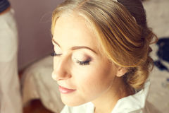 Beautiful bride portrait wedding makeup. Wedding hairstyle and make up Stock Image