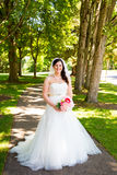 Beautiful Bride Portraits Outdoors Stock Image
