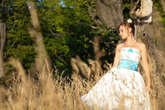 Beautiful bride poses in the grass on the background forest Stock Photos