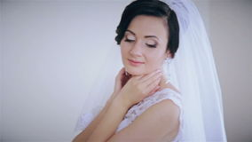 Beautiful bride posing for the camera stock footage