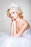 Beautiful bride posing dramatic in the studio Royalty Free Stock Image