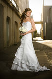 Beautiful bride posing in a grungy alley Stock Image