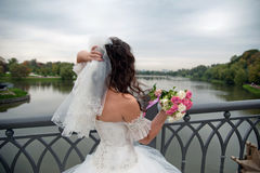 Beautiful bride posing in her wedding day Stock Photography