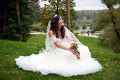 Beautiful bride posing in her wedding day Stock Photos