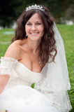 Beautiful bride posing in her wedding day Stock Images