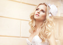 Beautiful bride. Posing in her wedding day Royalty Free Stock Photography