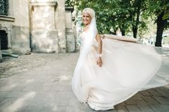 Portrait of beautiful bride. Beautiful bride posing in her wedding day Royalty Free Stock Photography