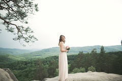 Beautiful bride posing near rocks against background the mountains Royalty Free Stock Images