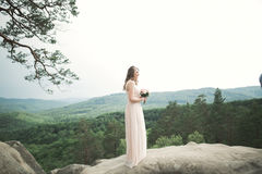 Beautiful bride posing near rocks against background the mountains Royalty Free Stock Photography
