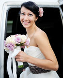 Beautiful Bride Posing Outdoors On Wedding Day Royalty Free Stock Photography